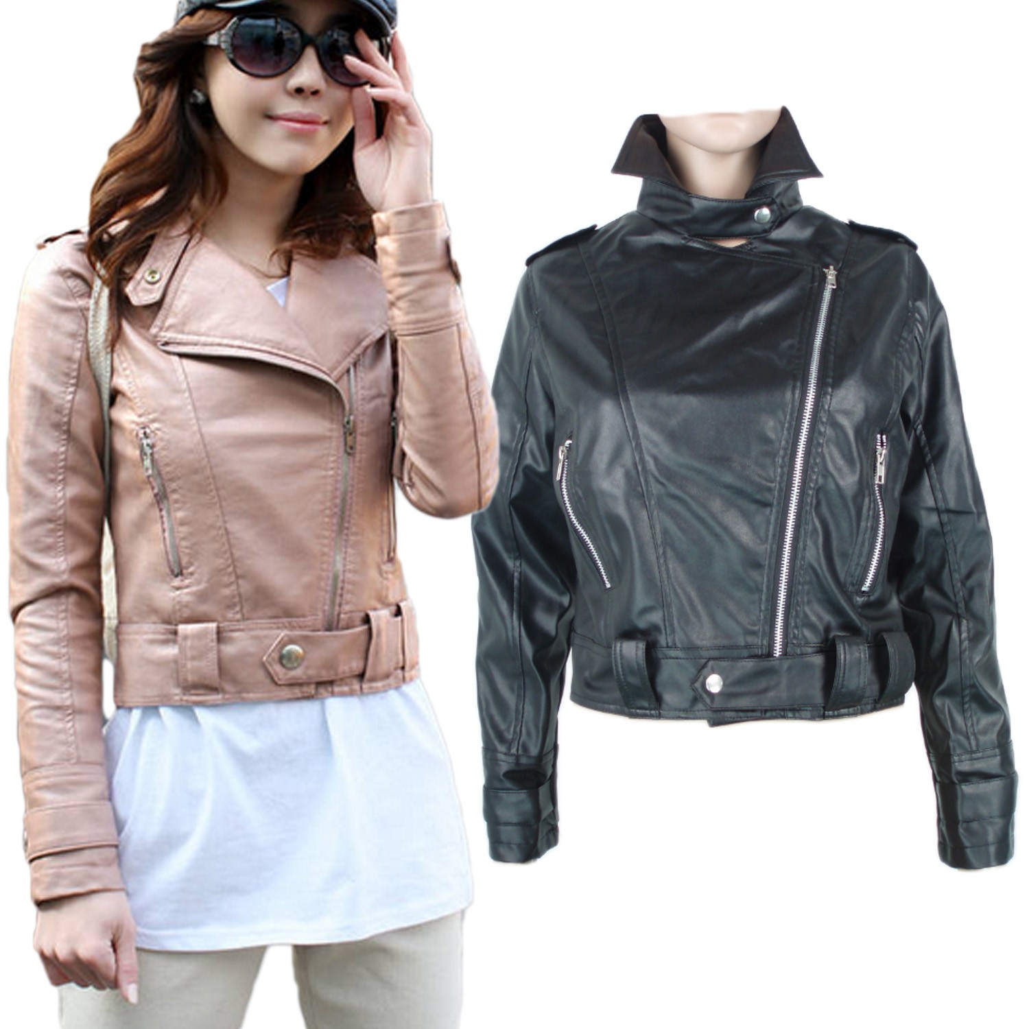 Black faux leather bomber jacket women
