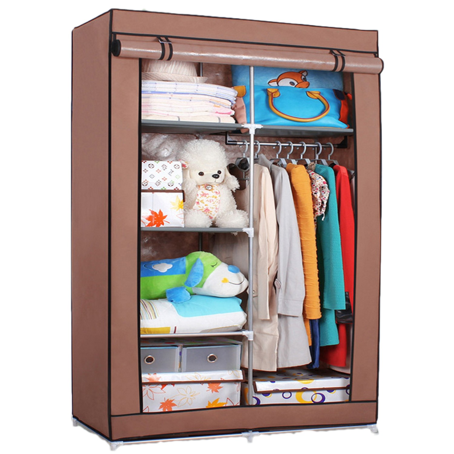 Cupboard Portable Shelf Storage Bedroom Shelves Double